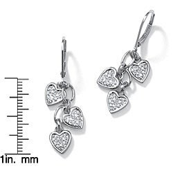 PalmBeach Platinum over Silver Diamond Accent Dangle Earrings
