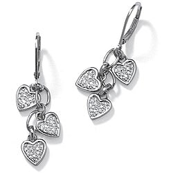 Isabella Collection Platinum over Silver Diamond Accent Dangle Earrings