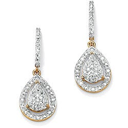 PalmBeach 18k Gold over Silver 1/8ct TDW Diamond Pear Earrings (H-I, I3)