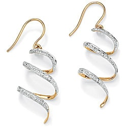 Isabella Collection 10k Gold Diamond Accent Spiral Ribbon Earrings
