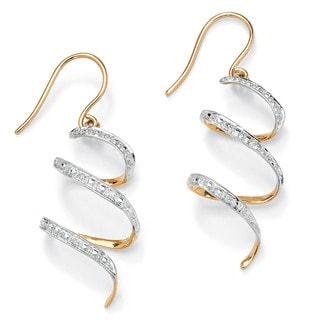 "PalmBeach Diamond Accent 10k Yellow Gold 1"" Ribbon Drop Earrings"