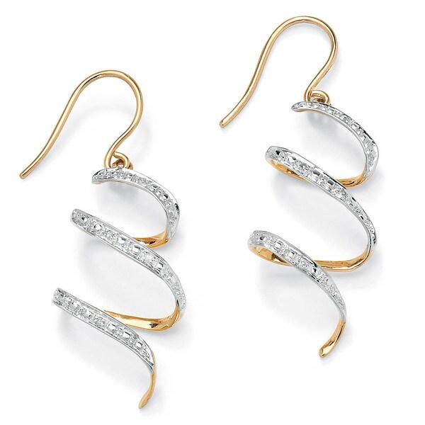 "PalmBeach Diamond Accent 10k Yellow Gold 1"" Ribbon Drop Earrings"
