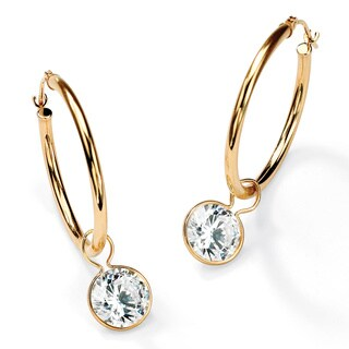 PalmBeach 4.00 TCW Cubic Zirconia 10k Yellow Gold Bezel-Set Removable Charm Earrings Classic CZ