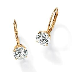 PalmBeach CZ 10k Yellow Gold Round Cubic Zirconia Leverback Earrings Classic CZ