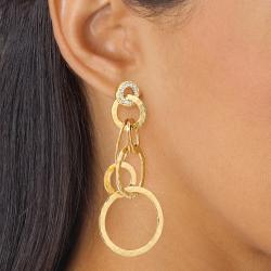 PalmBeach .52 TCW Round Cubic Zirconia 14k Yellow Gold-Plated Hammered-Style Drop Earrings Bold Fashion