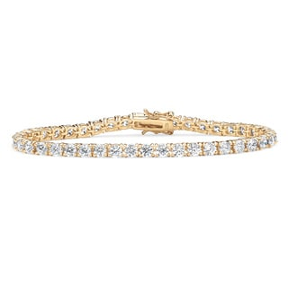 PalmBeach 10.75 TCW Round Cubic Zirconia Tennis Bracelet in 18k Gold over Sterling Silver Classic CZ