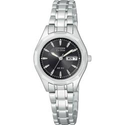 Citizen Eco-drive Women's Black Dial Stainless Steel Watch