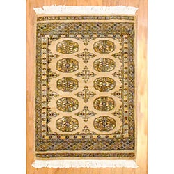 Pakistani Hand-knotted Beige/ Black Bokhara Wool Rug (2' x 3')