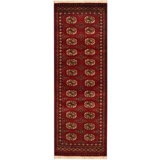 Herat Oriental Pakistan Hand-knotted Bokhara Red/ Ivory Wool Runner (2' x 6')