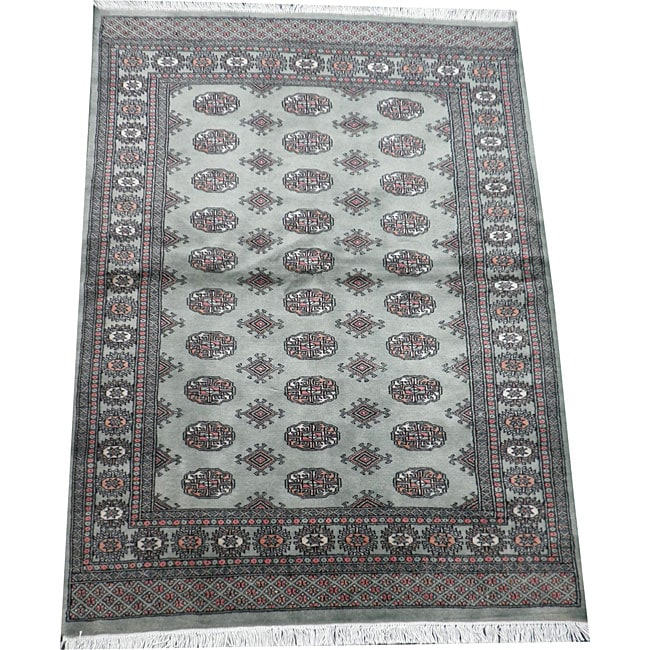 Herat Oriental Pakistan Hand-knotted Bokhara Lt. Green/ Ivory Wool Rug (4' x 6')')