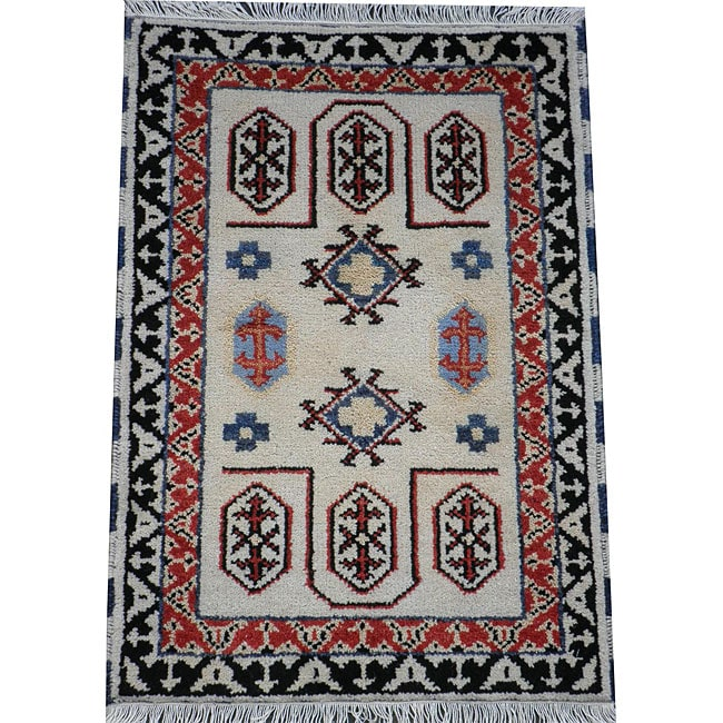 Indo Hand-knotted Ivory/ Rust Kazak Wool Rug (2' x 3')
