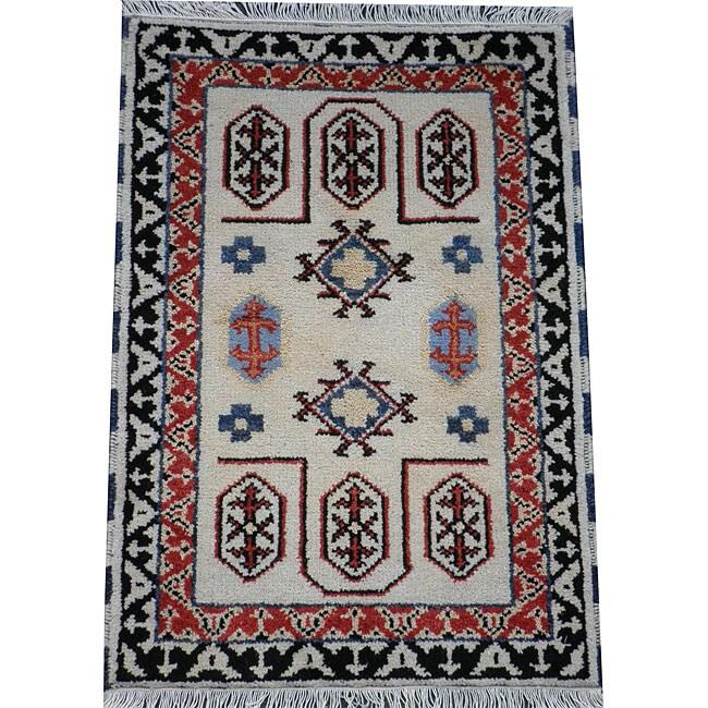 Herat Oriental Indo Hand-knotted Kazak Ivory/ Rust Wool Rug (2' x 3')
