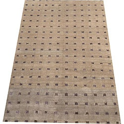 Nepalese Hand-knotted Brown/ Purple Tibetan Wool/ Silk Rug (6' x 9')