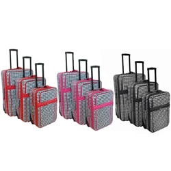 World Traveler 3-piece Houndstooth Expandable Luggage Set