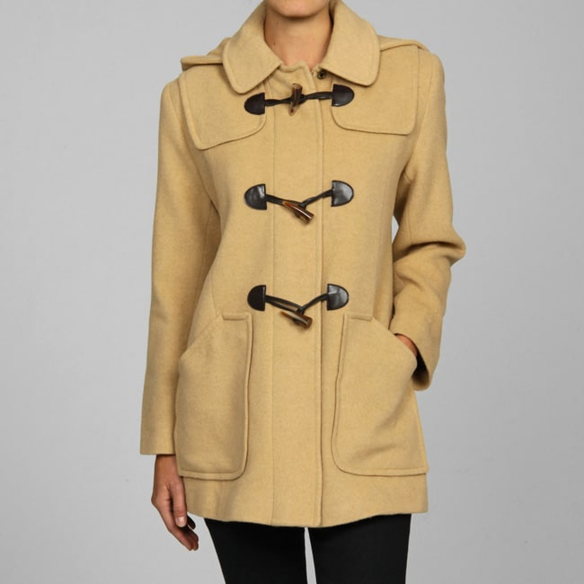 Larry Levine Petite Hooded Toggle Coat