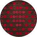 Hand-Tufted Red/Brown Mandara New Zealand Wool Rug (7'9 Round)