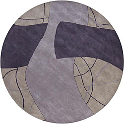 Hand-Tufted Gray Abstract Mandara New Zealand Wool Rug (7'9 Round)