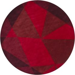 Hand-Tufted Mandara Brown/Red New Zealand Wool Rug (7'9 Round)