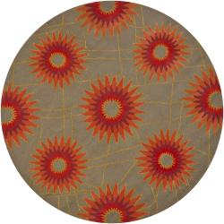 "Hand-Tufted Mandara Green New Zealand Wool Area Rug (7'9"" Round)"