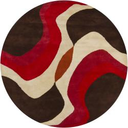 Hand-Tufted Mandara Brown/Orange/Red New Zealand Wool Rug (7'9 Round)