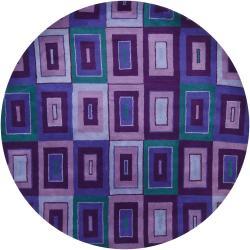 "Contemporary Hand-Tufted Mandara Gray New Zealand Wool Rug (7'9"" Round)"