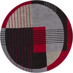 "Hand-Tufted Mandara Red New Zealand Wool Geometric Rug (7'9"" Round)"