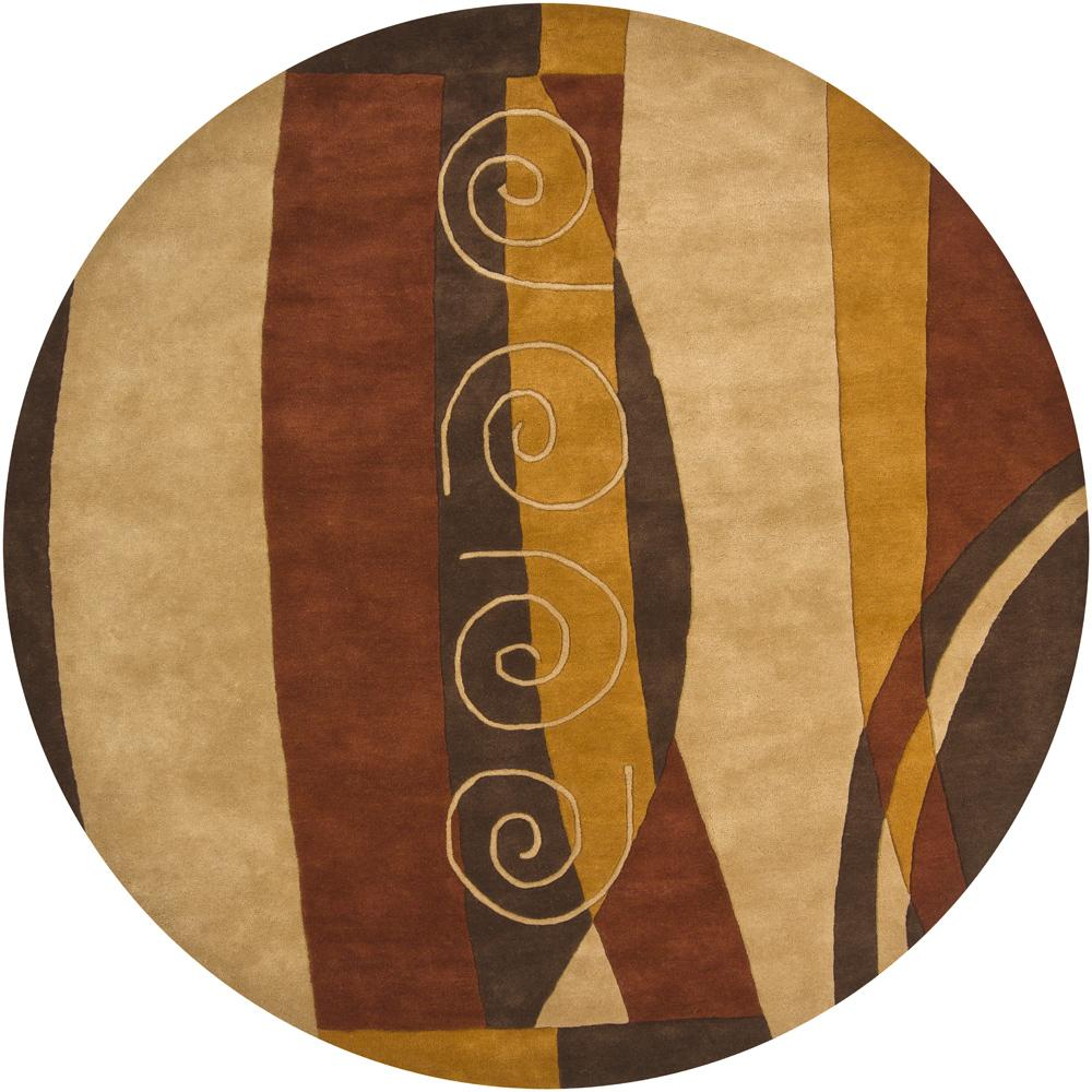 Hand-Tufted Mandara Brown/Rust/Gold New Zealand Wool Rug (7'9 Round)