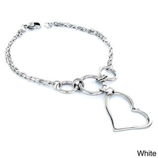 ELYA Stainless Steel Heart-shaped Charm Bracelet