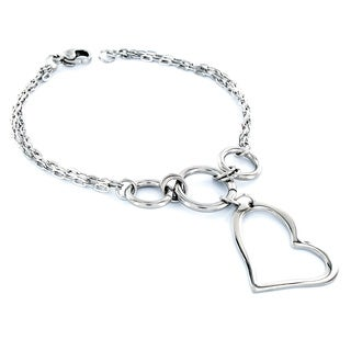 Elya Designs Stainless Steel Heart-shaped Charm Bracelet