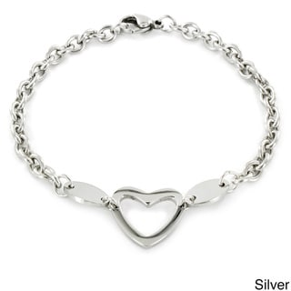 Stainless Steel Polished Heart Cut-out Charm Bracelet