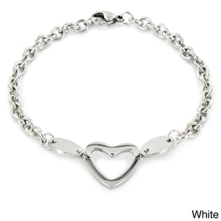 ELYA Stainless Steel Polished Heart Cut-out Charm Bracelet