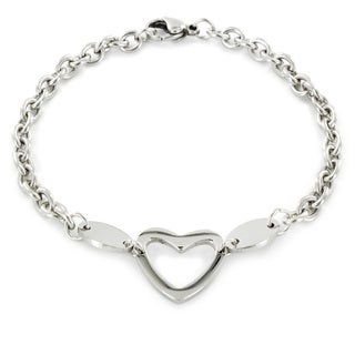 Elya Designs Stainless Steel Polished Heart Cut-out Charm Bracelet