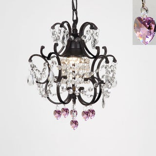 Versailles 1-light Black/ Crystal Hearts Mini Chandelier