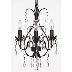 Versailles Three-Light Black Indoor Crystal Mini Chandelier