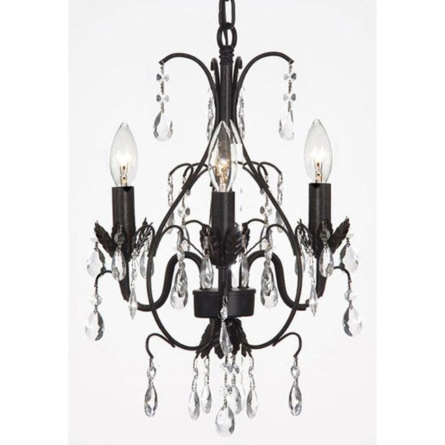 Gallery Versailles Three-Light Black Indoor Crystal Mini Chandelier