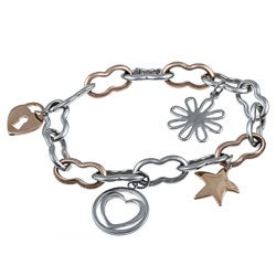 Kabella Two-tone Stainless Steel Charm Bracelet