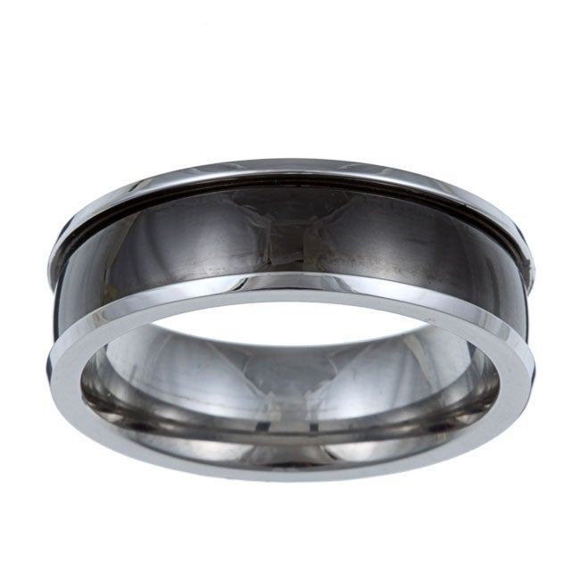 Kabella Men's Stainless-Steel Black-Band Band Ring