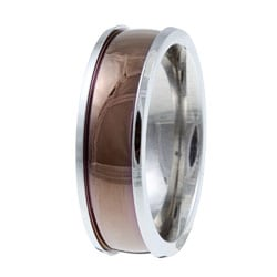 Kabella Men's Stainless-Steel Espresso-Center Band Ring