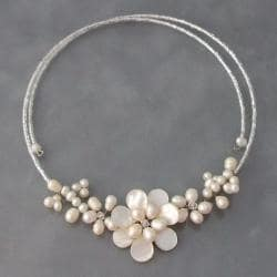Memory Wire Flower White Pearl Cluster Wrap Necklace (3-7 mm) (Thailand)