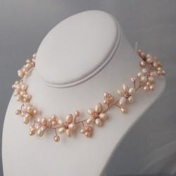 Intricate Pink Pearl Flower Link Necklace (3-10 mm) (Thailand)