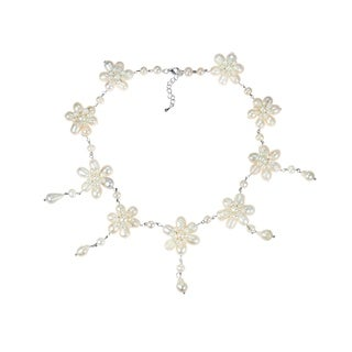 White Pearl Flower Link Drop Necklace (3-11 mm) (Thailand)