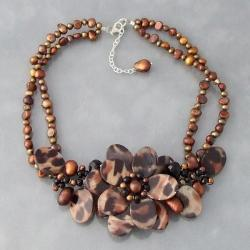 Triple Leopard Mother of Pearl/ Pearl/ Agate Necklace (3-7 mm) (Thailand)