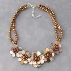 Golden Mother of Pearl/ Pearl Floral Necklace (3-7 mm) (Thailand)