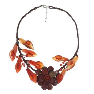Rose Vines Red Jasper and Carnelian Flower Necklace (Thailand)