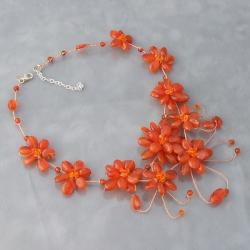 Floating Tangerine Flower Garland Necklace (Thailand)