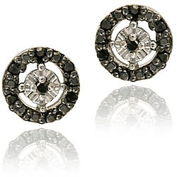 DB Designs Sterling Silver 1/8ct TDW Black Diamond Circle Earrings