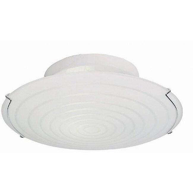 Contemporary 2-light 15-inch Semi-flush White Fluorescent Ceiling Light