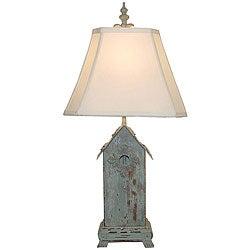 Blue Birdhouse Wooden Table Lamp