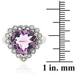 Glitzy Rocks Sterling Silver Amethyst and Cubic Zirconia Heart Ring