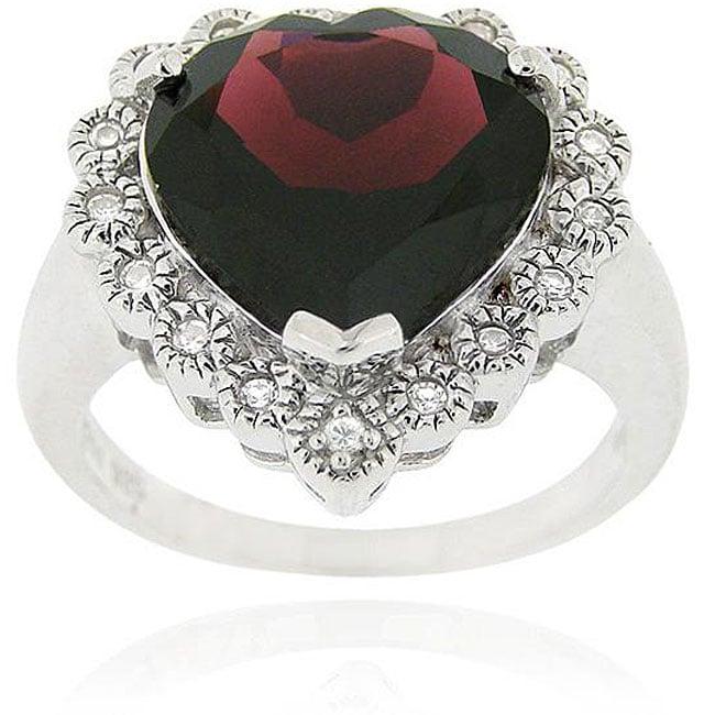 Glitzy Rocks Sterling Silver Garnet and Cubic Zirconia Heart Ring